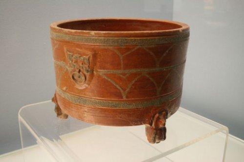 brown & green pottery lian (hộp đựng đồ trang điểm), Đông Hán