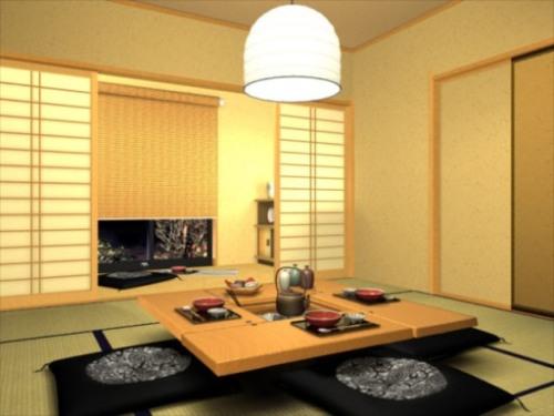 Một góc sinh hoạt điển hình kiểu Nhật với bàn gỗ thấp và một hibachi ở giữa