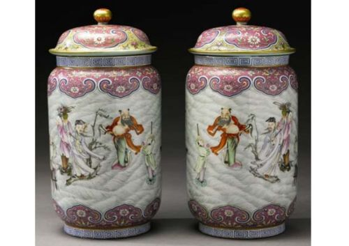 A  rare pair of 'Famille- Rose' 'Eight Daoist Immortals' jars and covers, Qianlong iron-red seal marks and period. est. $300/400,000.  Photo: Sotheby´s.