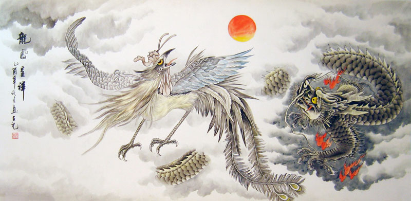 Chinese dragon painting wallpaper
