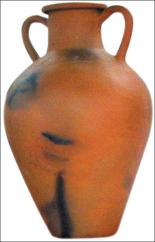 Gốm nung xóm Gọ đặc trưng bởi những vết đen...