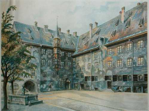 "This 1914 painting is titled: ""The Courtyard of the Old Residency in Munich."""
