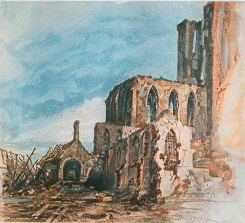 "This painting, also from 1914, is titled ""Ruins of a Cloister in Messines."""