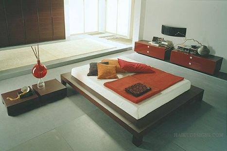 Một phòng ngủ Nhật Bản với màu sắc mạnh mẽ và hiện đại