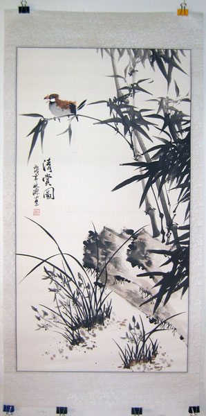 a screen mounted Chinese painting