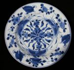 Chinese blue and white plate, Kangxi (1662-1722), decorated with a central roundel with abstract foliage and flowers, diameter: 8 3/4in. 22.3cm.