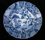 Chinese blue and white 'kraak porselein klapmuts' bowl, Kangxi(1662-1722), decorated in the centre with plants issuing on a river bank, diameter 16cm., condition: small frits