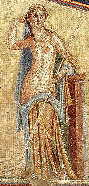 Detail of mosaic from Herculaneum depicting Amphitrite