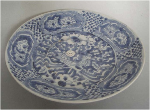 Late Ming Swatow blue and white double phoenix plate  	Dia:   26.5   cm.