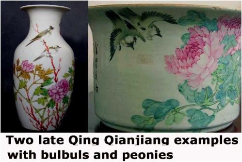 Minh họa đồ án chim bulbul và hoa mẫu đơn trên bình và chậu cuối thời nhà Thanh