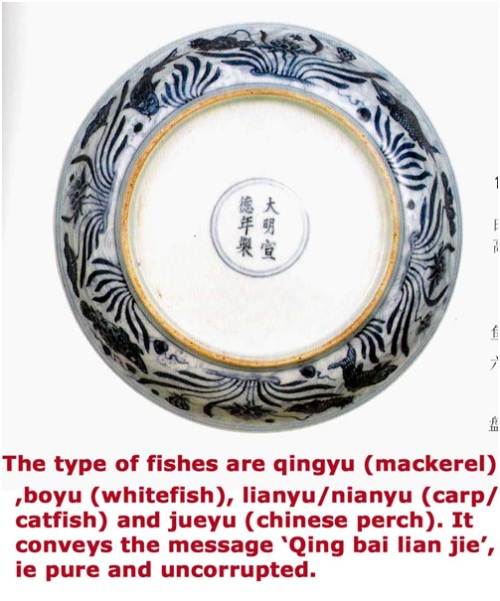 """Motif vẽ 4 loại cá tượng trưng cho """"thanh bạch liêm khiết"""" - qing bai lian jie (清白廉洁)"""