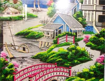 """""""Một góc làng"""" - tranh kính sơn thủy của cụ Sáu Thơ"""