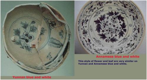 Phong cách vẽ hoa và lá rất giống nhau giửa sứ men lam Việt Nam và Vân Nam