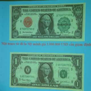 Từ tờ 1 USD thật (dưới) được tẩy sửa thành tờ 1 triệu USD giả (trên).