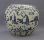 Ming Xuande, Blue & White Still Unknown Story of The Jar Figures with inner Side Painted