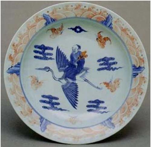 Một tiêu bản khác với 5 điều chúc phúc đại diện bởi 5 con dơi vẽ bao quanh Thọ Tinh cưởi hạc tay cầm quả đào.
