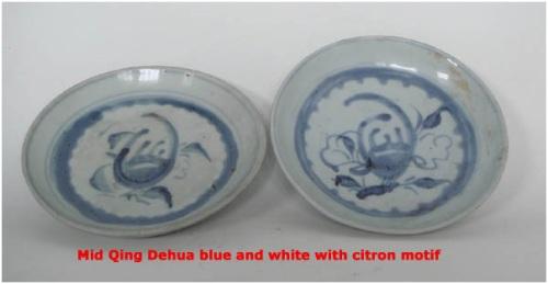 finger citron = phật thủ; motif phật thủ trên đĩa thời kỳ giửa Minh.
