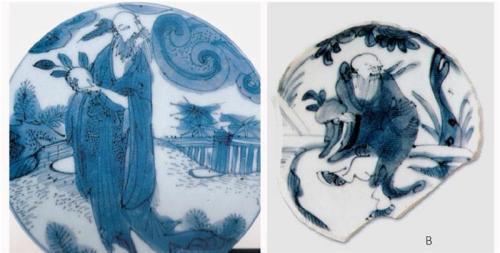 Những ví dụ về tích vẽ Đông Phương Sóc ăn trộm đào tiên từ vườn của Tây Vương Mẫu trên các gốm sứ cuối thời nhà Minh