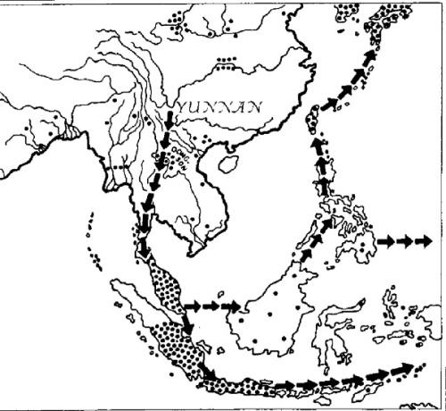 Con đường truyền bá của chiếc rìu đá có mộng (khoảng từ 2500 đến 1500 trước C.N., theo nhà tiền sử học Heine-Geldern).