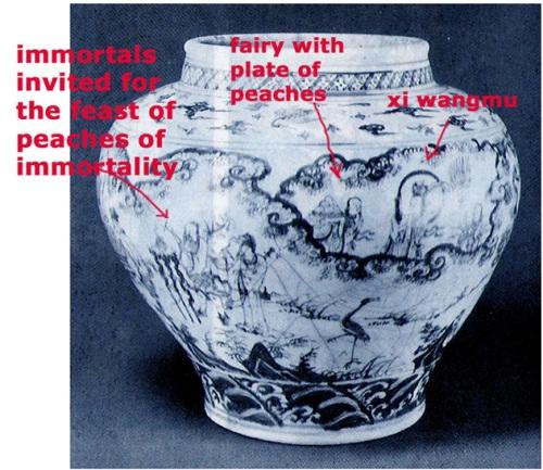 ghè lớn thời cuối Minh vẽ trang trí mô tả cảnh chư tiên dự hội bàn đào ( sinh nhật Tây Vương Mẫu)