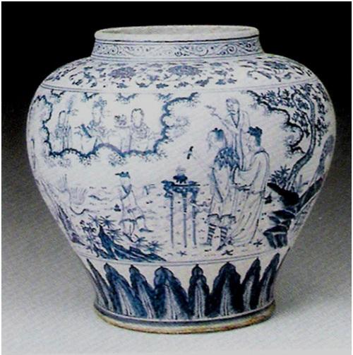 Một bình vẽ men lam đầu nhà Minh khác mô tả cảnh các tiên đi dự hội bàn đào ( Tây Vương Mẫu mời )