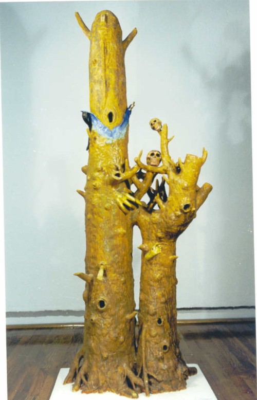 Ghost tree #1 (with blue jeans) (1999) Size: 72 x 24 x 15""