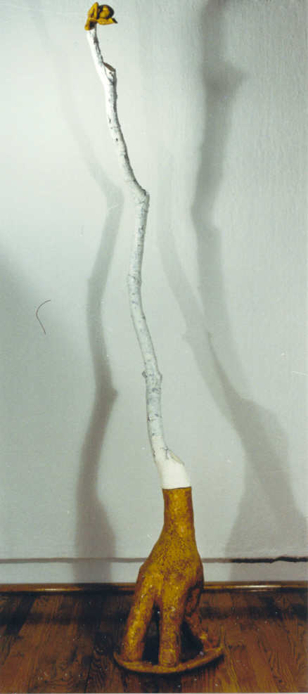Ghost figure #4 (ceramic with tree branch)(1999) Size: 92 x 14 x 12""