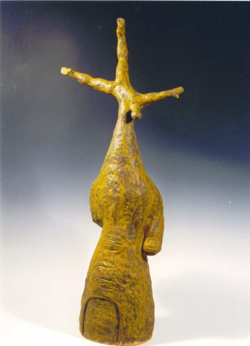 Standing on one finger (1998) Size: 31.5 x 13.5 x 9""