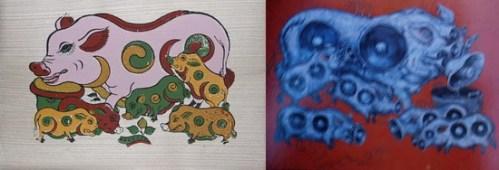 Tranh Lợn đàn của Đông Hồ (trái) và tranh của Phạm Huy Thông