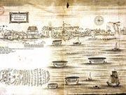 Kẻ chợ thế kỷ XVII, có hai thương điếm Hà Lan và Anh (S.Baron).