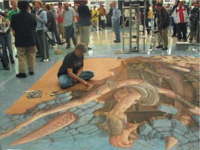 Kurt Wenner đang vẽ tranh tại triển lãm tranh đường phố Old Mission Santa Barbara, ở California, Mỹ