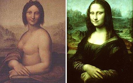 Naked Mona Lisa and Leonardo Da Vinci's Mona Lisa  Photo: AP