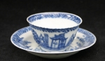 Chinese blue and white teabowl with cuckoo in hous Ref: L444 Chinese blue and white teabowl with cuckoo in house, Kangxi (1662-1722), diameter of saucer: 4 1/8in. 10.5cm., height of cup 1 1/2in. 3.7cm. Condition: .rim frits to teabowl, saucer with glaze cracks