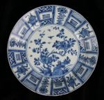 Chinese blue and white plate, Kangxi (1662-1722) p Ref: N906 Chinese blue and white plate, Kangxi (1662-1722) painted in the Wanli Kraak style