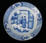 Chinese blue and white plate, Kangxi(1662-1722), d Ref: P857 Chinese blue and white plate, Kangxi(1662-1722), decorated with three figures at a doorway onto a garden, diameter: 8in. 20.3cm. Condtion:small 'hairline' crack to rim