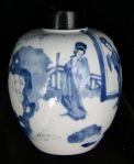 Chinese Kangxi(1662-1722) blue and white ginger v Ref: P859 Chinese Kangxi(1662-1722) blue and white ginger vase with wooden cover., height:4.3/4 in.; 12 cm. condition: perfect