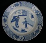 Chinese blue and white plate, Kangxi (1662-1722),  Ref: Q819 Chinese blue and white plate, Kangxi (1662-1722), decorated with two ladies on a terrace by a round window, the border with four vignettes containing cherry blossom against a hatched background, the underside with a Jiajing mark within two concentric circles , diameter: 20.5cm. 8 1/32in.