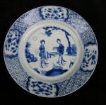 Chinese blue and white plate, Kangxi (1662-1722),  Ref: Q821 Chinese blue and white plate, Kangxi (1662-1722), decorated with two ladies in a garden with a fence, with four shaped vignettes with blossom against a hatched background, diameter: 20.5 cm. 8 1/32 in.condition: good