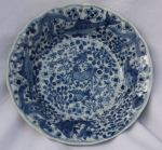 Chinese blue and white plate, Kangxi (1662-1722),  Ref: R218 Chinese blue and white plate, Kangxi (1662-1722), decorated with a crab, carp and starfish against a background of seaweed and foliage, diameter: 22cm. 8 11/16in. Condition: minute frit