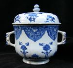 Chinese blue and white two-handled bowl and cover, Ref: R55 Chinese blue and white two-handled bowl and cover, Kangxi (1662-1722), decorated with lotus, diameter: 4 15/16in. 12.5cm. Condition: lid repaired