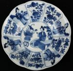 Chinese blue and white decagonal saucer, Kangxi (1 Ref: TL79 Chinese blue and white decagonal saucer, Kangxi (1662-1722), with 4 panels of Long Elizas and 8 panels with flowers, decorated on the back with swirling foliage, diameter: 5 15/16in. 14.7cm.