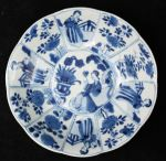 Chinese blue and white decagonal saucer, Kangxi (1 Ref: TL80 Chinese blue and white decagonal saucer, Kangxi (1662-1722), with 4 panels of Long Elizas and 8 panels with flowers, decorated on the back with swirling foliage, diameter: 5 15/16in. 14.7cm.