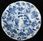 Chinese blue and white decagonal saucer, Kangxi (1 Ref: TL81 Chinese blue and white decagonal saucer, Kangxi (1662-1722), with 4 panels of Long Elizas and 8 panels with flowers, decorated on the back with swirling foliage, diameter: 5 15/16in. 14.7cm. Condition: small shallow chip to rim