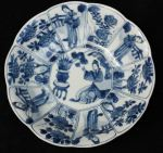 Chinese blue and white decagonal saucer, Kangxi (1 Ref: TL82 Chinese blue and white decagonal saucer, Kangxi (1662-1722), with 4 panels of Long Elizas and 8 panels with flowers, decorated on the back with swirling foliage, diameter: 5 15/16in. 14.7cmcondition: shallow chip to foot rim.