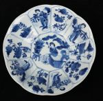 Chinese blue and white decagonal saucer, Kangxi (1 Ref: TL83 Chinese blue and white decagonal saucer, Kangxi (1662-1722), with 4 panels of Long Elizas and 8 panels with flowers, decorated on the back with swirling foliage, diameter: 5 15/16in. 14.7cm.condition: hairline