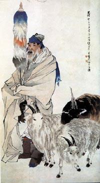 Tranh vẽ tích Tô Vũ chăn cừu